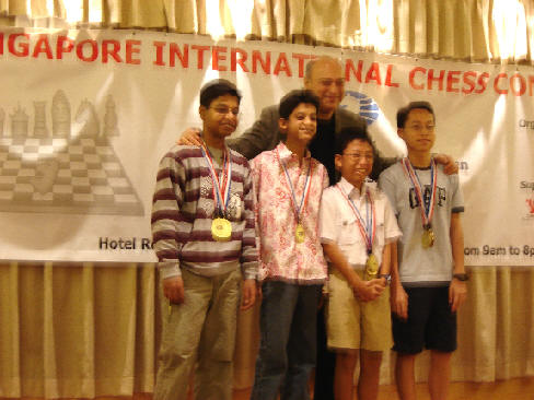 Sanam Somani (Second from the left) - Team Silver in Under 15 Boys - Asian School Chess Championship December 2005